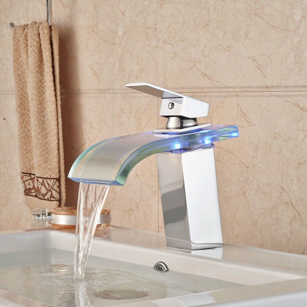 Waterfall Spout Bathroom Faucet: LED Glass Waterfall Spout Chrome Brass Bathroom Basin