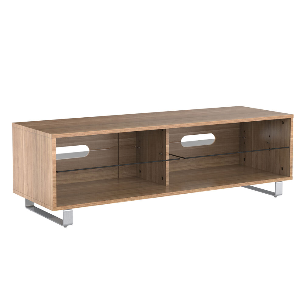 Tv stand cabinet unit wood glass w cupboards for