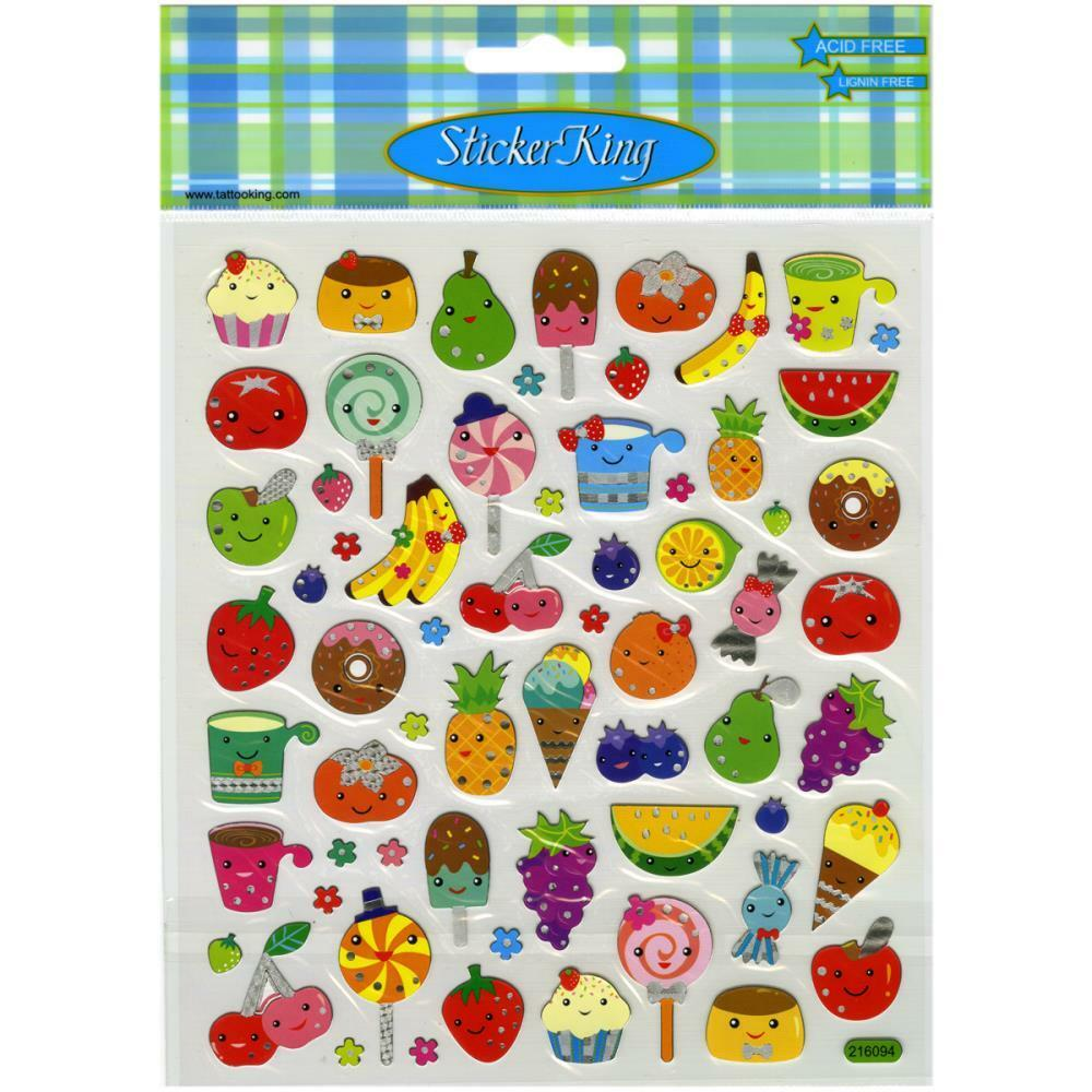 Scrapbooking crafts stickers sticker king food faces fruit for Scrapbooking cuisine