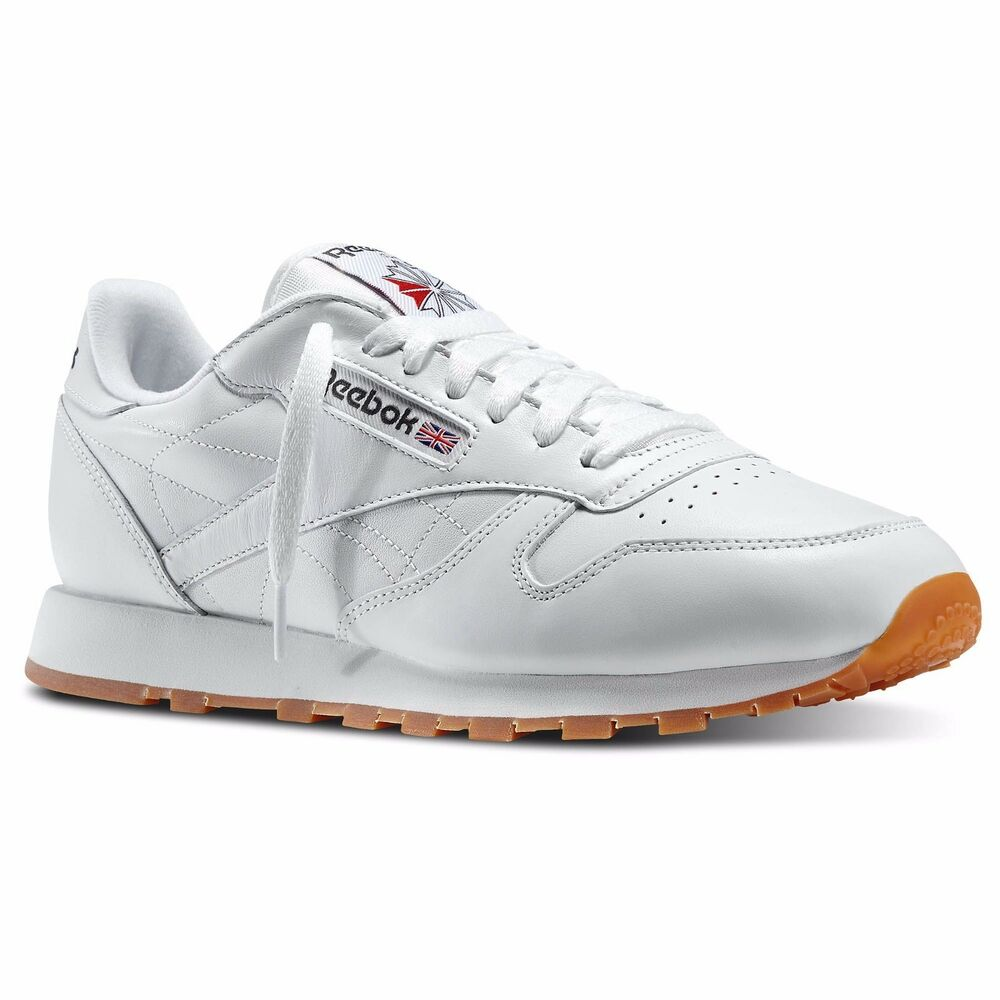 9ea82ec32d5 Reebok 49797:CL LTHR Classic Leather Gum Sole All WHITE Running
