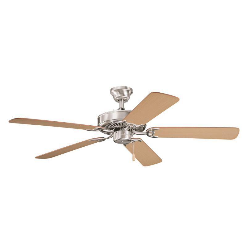 Oak Ceiling Fans With Lights : Brushed stainless steel quot ceiling fan with light oak