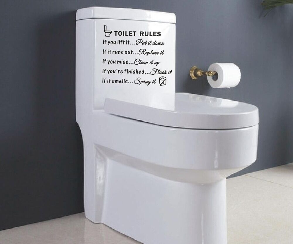 Toilet Rules Bathroom Removable Wall Sticker Vinyl Art ...