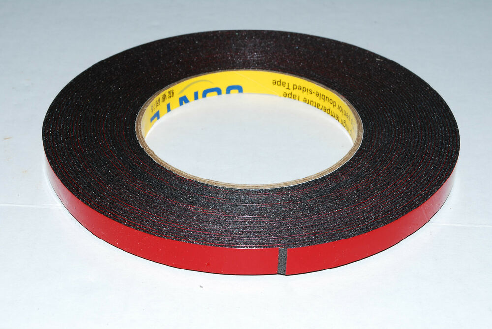 2 Roll 10mm 10m Black Strong Black Adhesive Double Sided