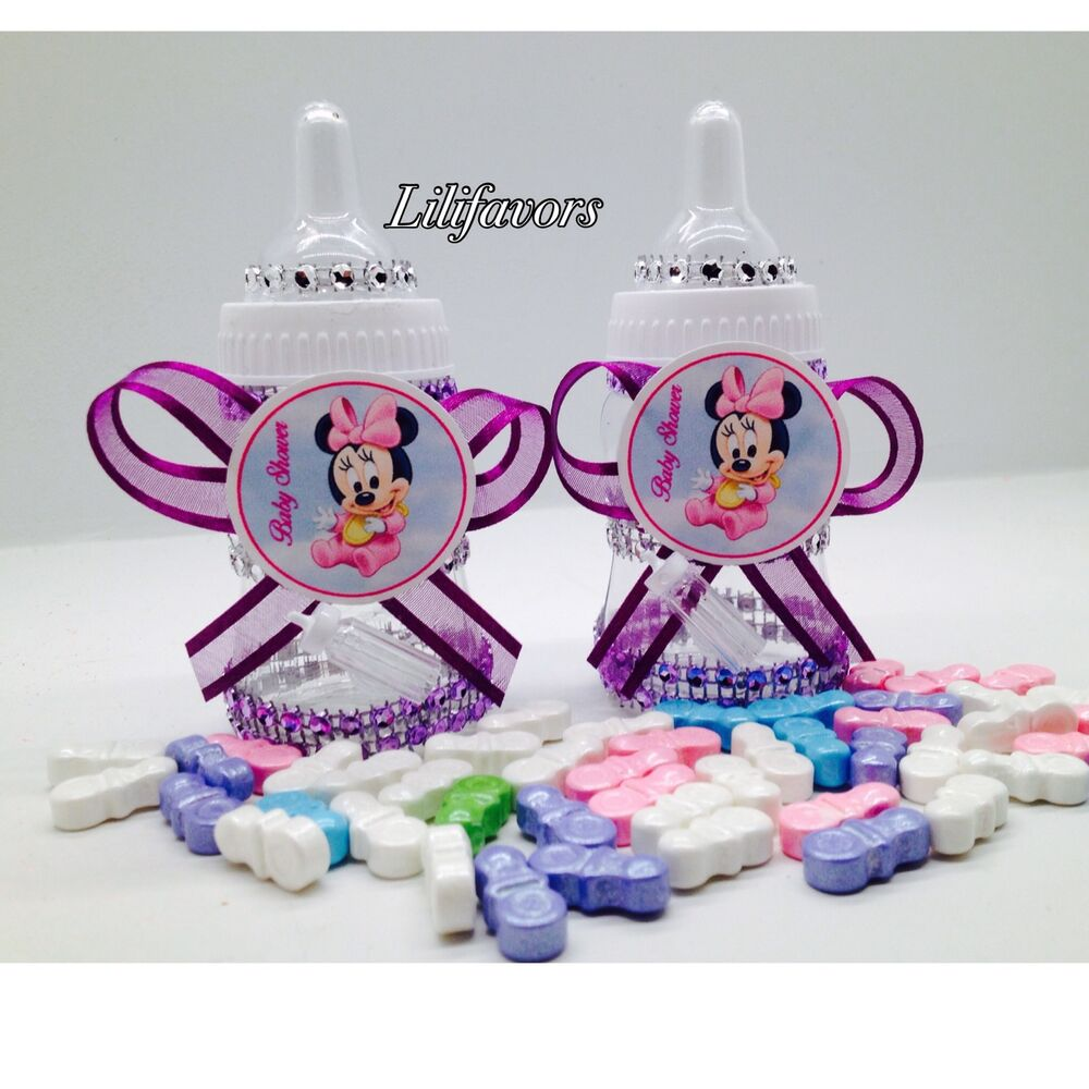 Minnie Mouse Baby Shower Party Favors: 12 Fillable Baby Girl Shower Bottles Minnie Mouse Purple