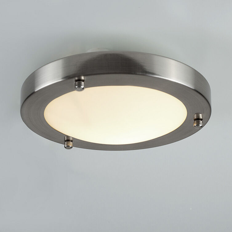 Modern ip44 silver chrome glass flush mini bathroom for Contemporary bathroom ceiling lights