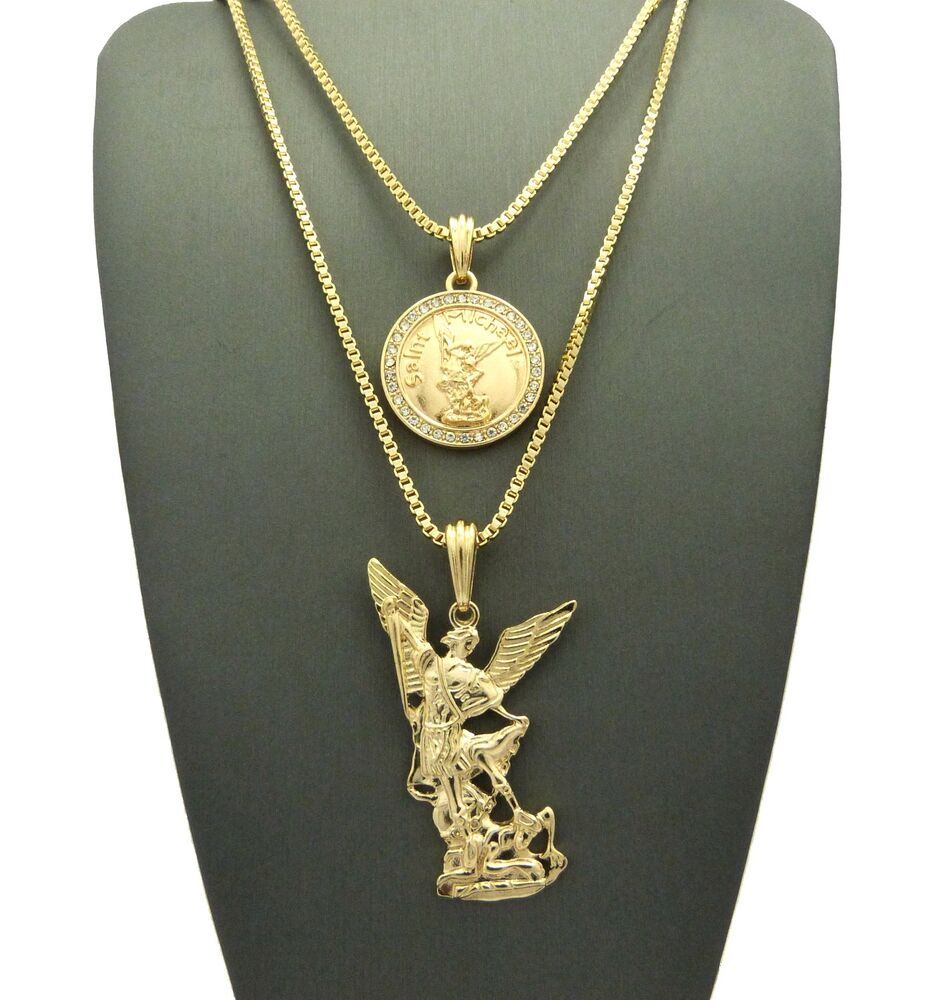 hip hop michael archangel pendant 24 quot 30 quot box chain