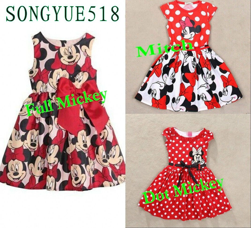 Years Minnie Mouse Princess Birthday Party Outfit Girls Dress Kids ...