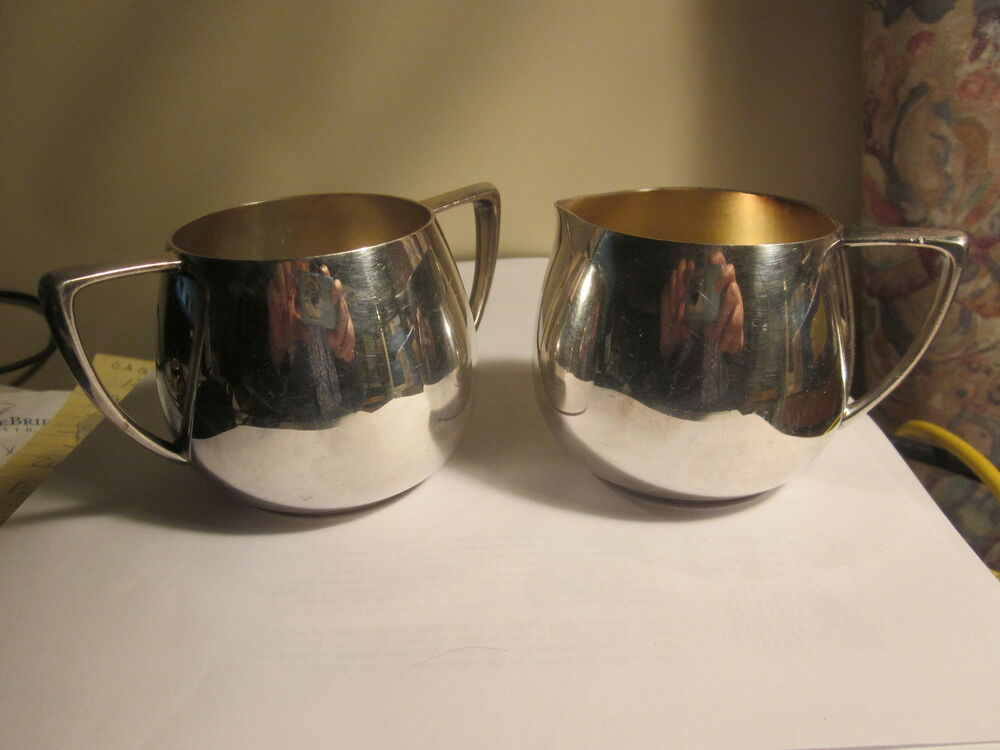 mid century modern silver sugar and creamer caddy empire