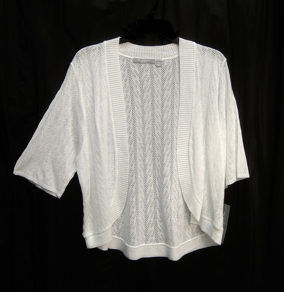 BRITE WHITE SOFT OPEN FRONT/WEAVE KNIT CROCHET CARDIGAN ... - photo#35
