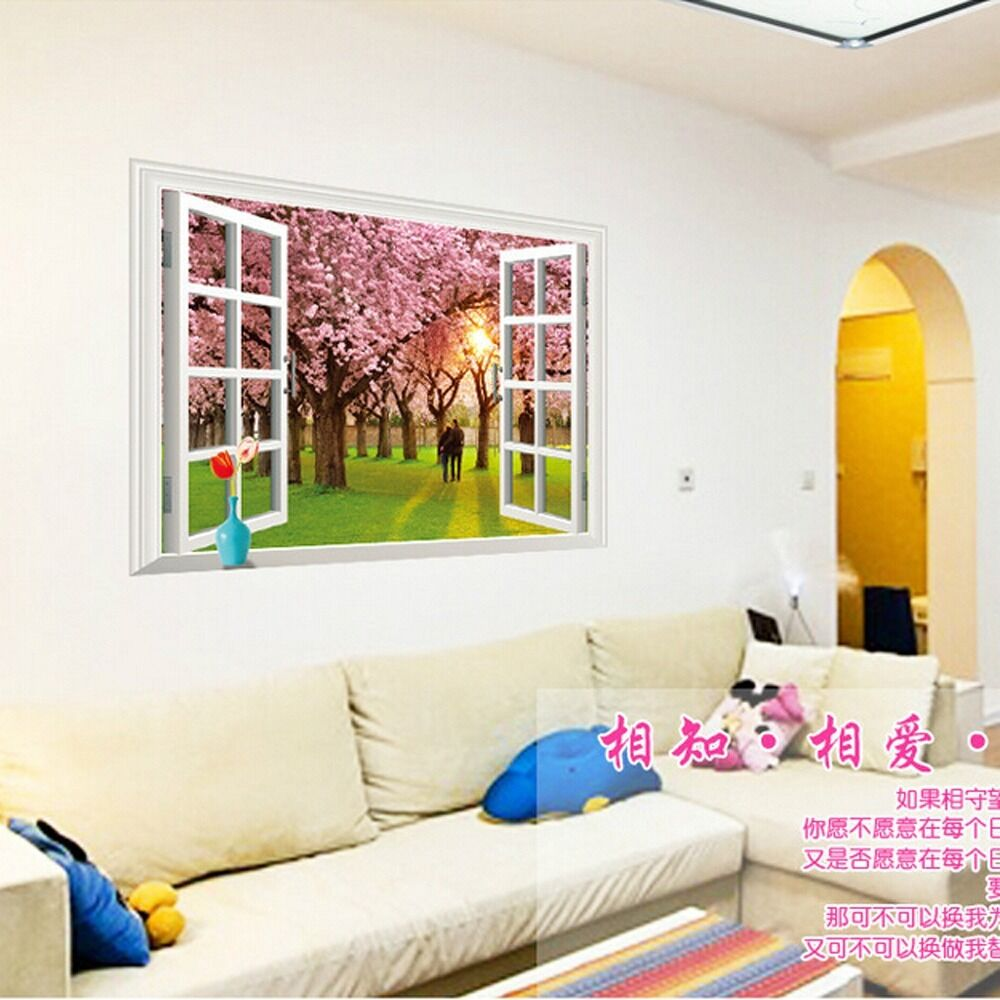 Cherry tree 3d window removable wall sticker decals vinyl for Room decor 3d