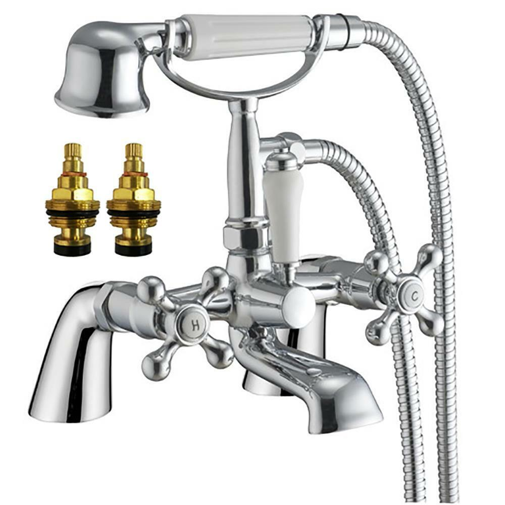 Victorian Antique Old Style Chrome Bath Shower Mixer Tap Viscount 4 Ebay
