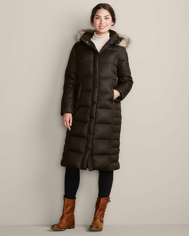 Eddie Bauer 2014 Womens Down Duffle Parka Cocoa Brown