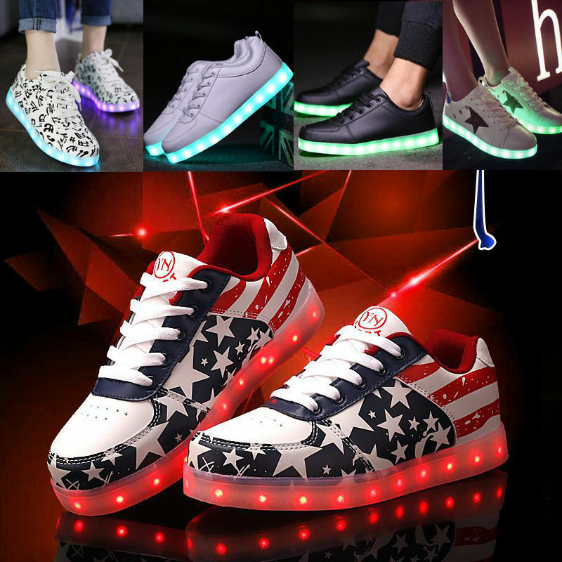2017 new mens womens led light up stars sneakers trainer luminous shoes us size ebay. Black Bedroom Furniture Sets. Home Design Ideas