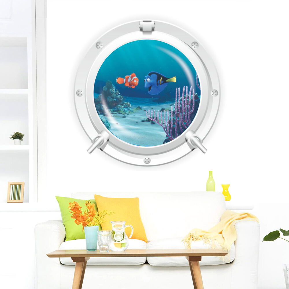 Ocean fish 3d porthole view wall sticker vinyl decal kids for Ocean decorations for home