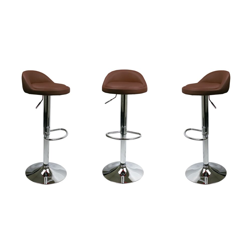 Set Of 2 Brown Leather Bar Stools Swivel Dinning Counter