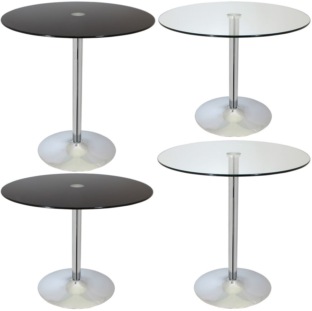 large circular glass top bistro dining table bar cafe style tall round breakfast ebay. Black Bedroom Furniture Sets. Home Design Ideas