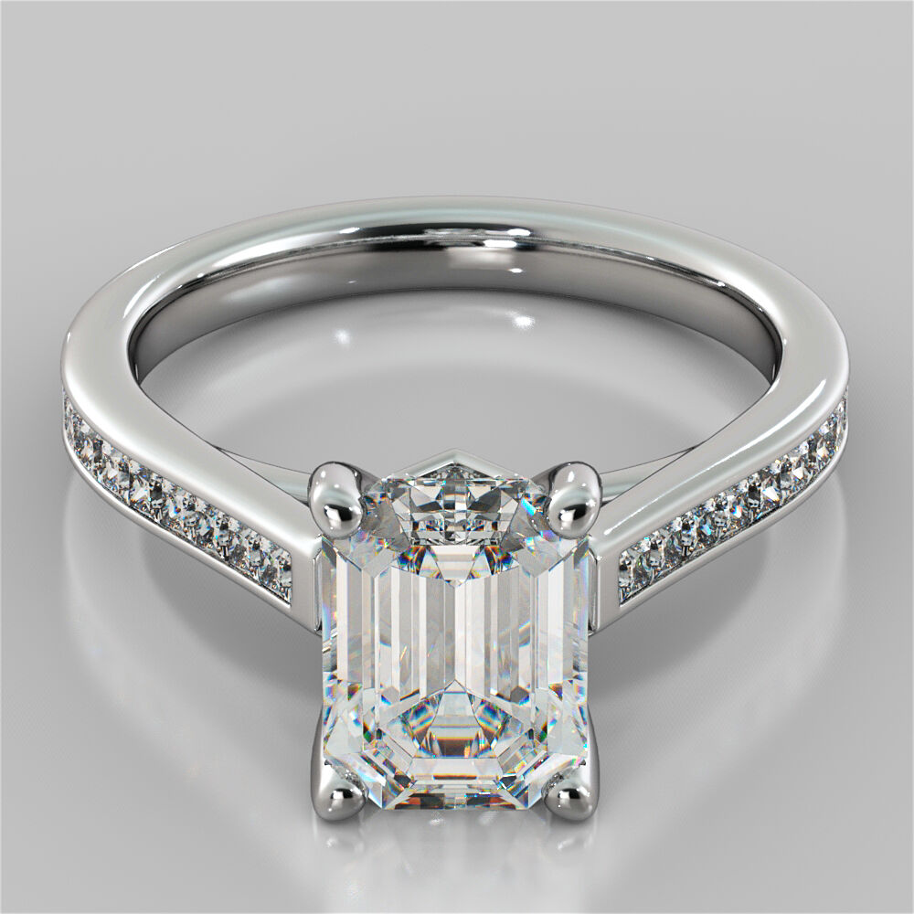 2.30Ct Emerald Cut Engagement Ring In 14K White Gold