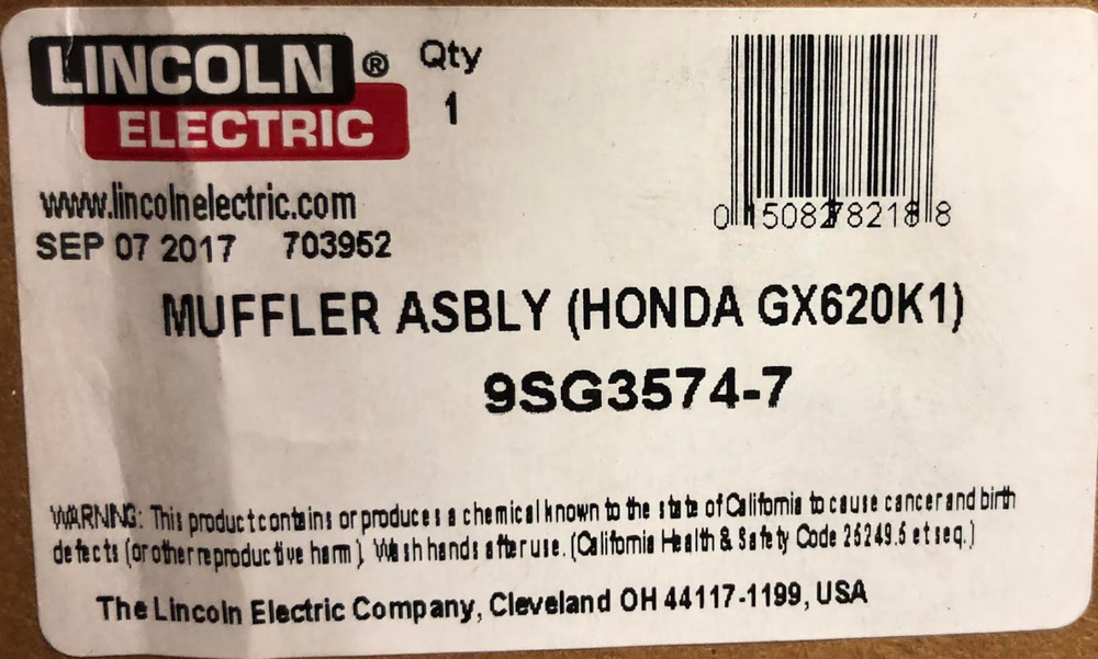 Lincoln G3574 7 Muffler Assembly Honda Gx620k1 Only And Gaskets