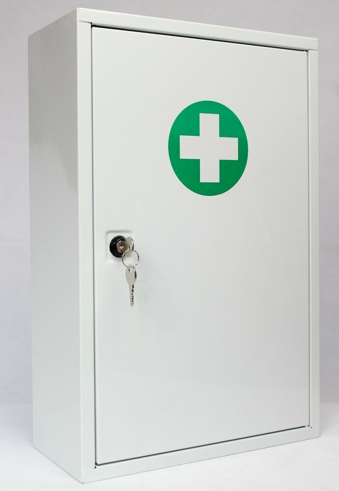 empty robust white wall mounted metal first aid cabinet single door lockable ebay. Black Bedroom Furniture Sets. Home Design Ideas