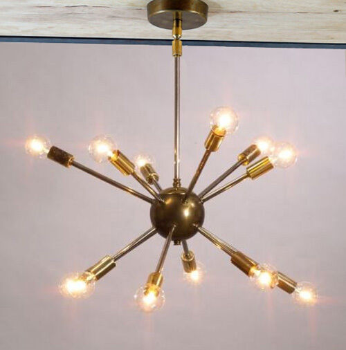 Modern brass mid century sputnik atomic chandelier for Mid century modern pendant light fixtures