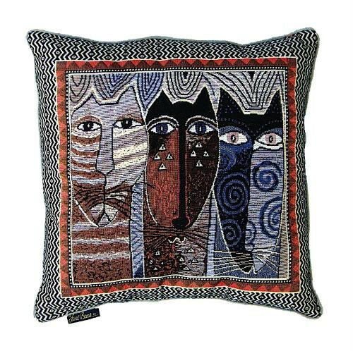 Decorative Tapestry Throw Pillows : Laurel Burch Natural Colors Native Cats Decorative Tapestry Throw Pillow New eBay