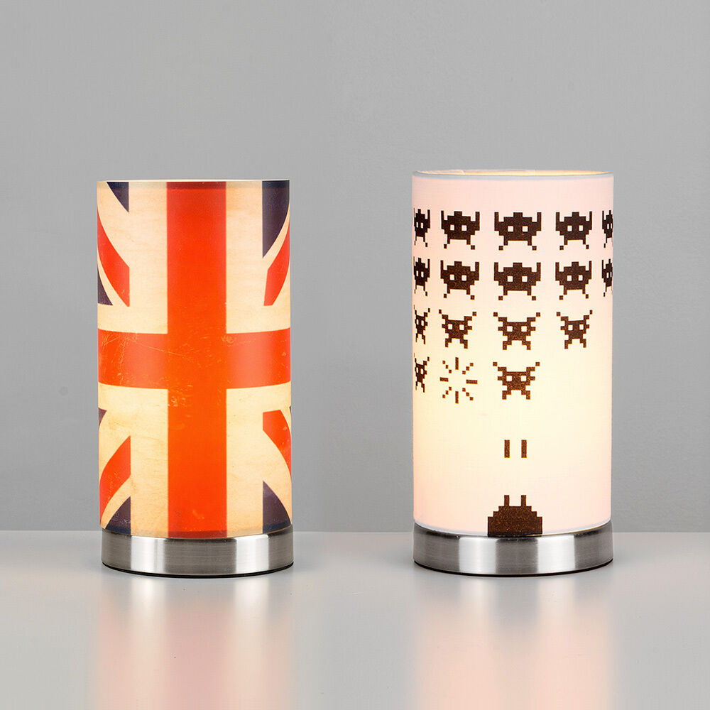 Vintage retro union jack space invaders touch dimmer bedside table lights lamps ebay - Bedside lamps with dimmer ...