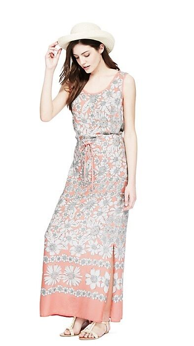 MARKS AND SPENCER PEACH&CREAM TONAL FLORAL PRINT MAXI ...