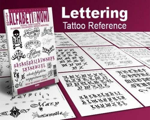 Calligraphy letters writing design tattoo flash book