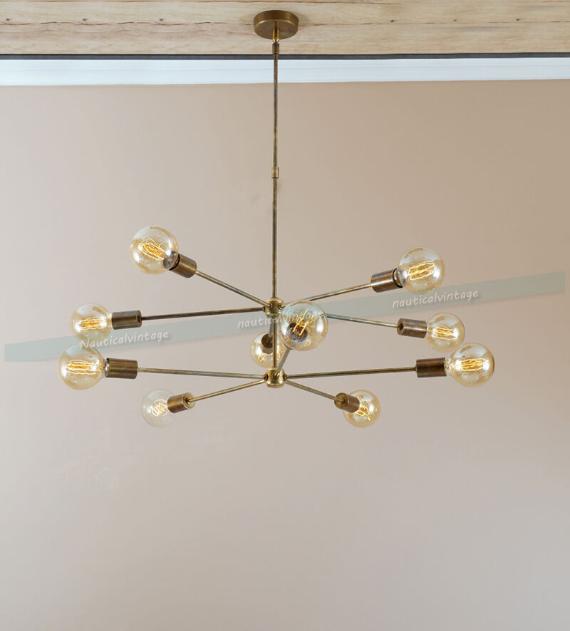 mid century 10 arms modern brass chandelier industrial. Black Bedroom Furniture Sets. Home Design Ideas