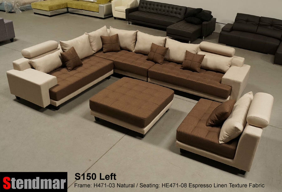 5 piece modern microfiber sectional sofa set s150lne ebay for Eurodesign brown leather 5 piece sectional sofa set