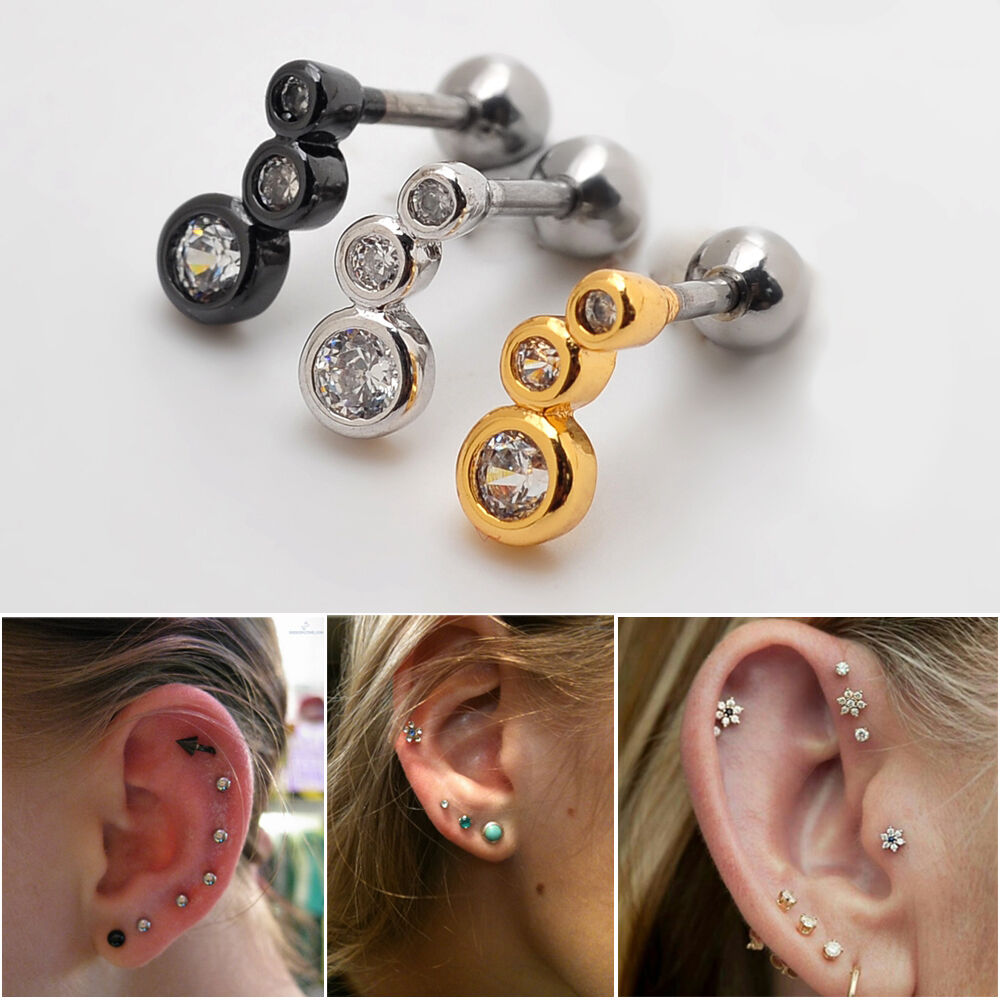 s ear piercing earrings 1x16g rhinestone cartilage earring stud ear lobe 1996