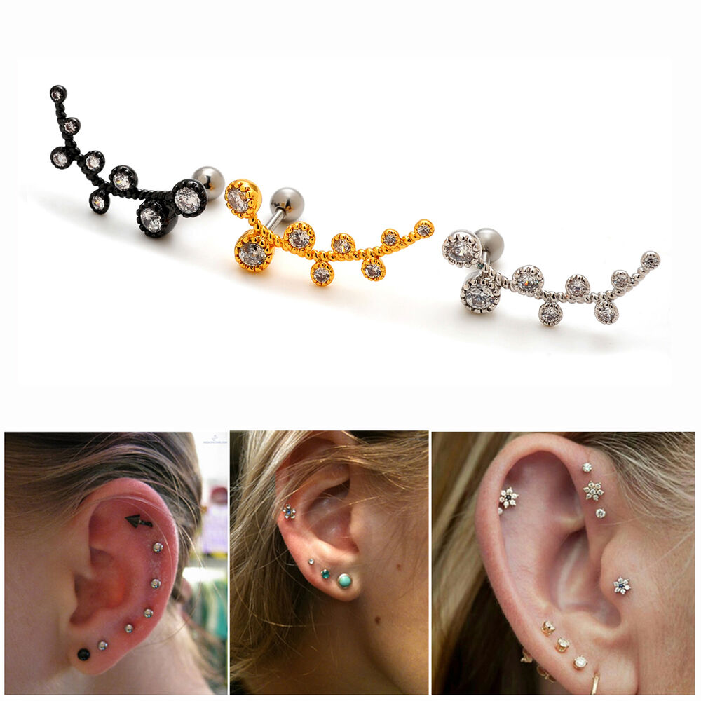 s ear piercing earrings 2pcs 16g cz branch ear studs cartilage earrings 4481