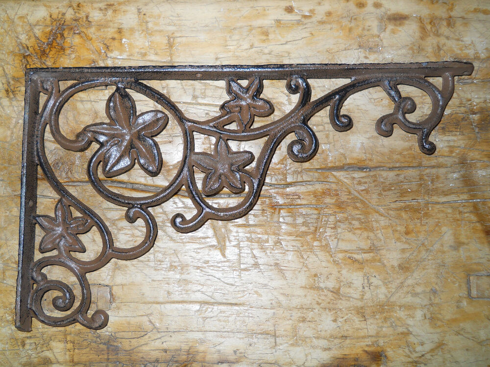 4 Cast Iron Antique Style Flower & Vines Brackets, Garden