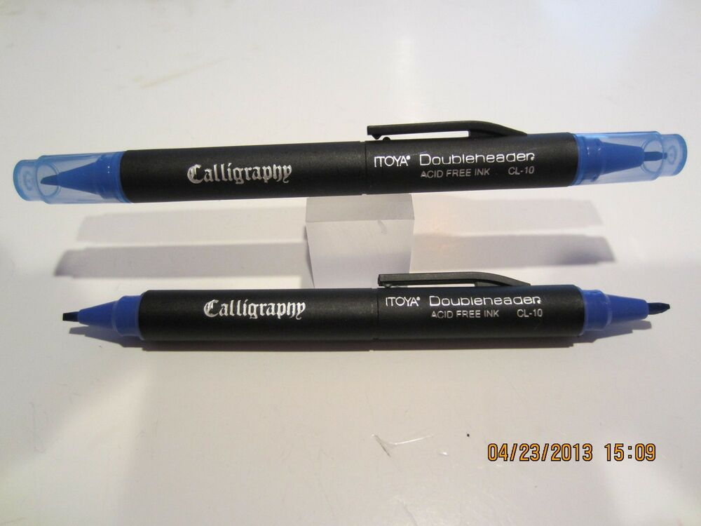 Set Of 2 Itoya Cl 10 Dual Sided Calligraphy Pens Blue Ebay