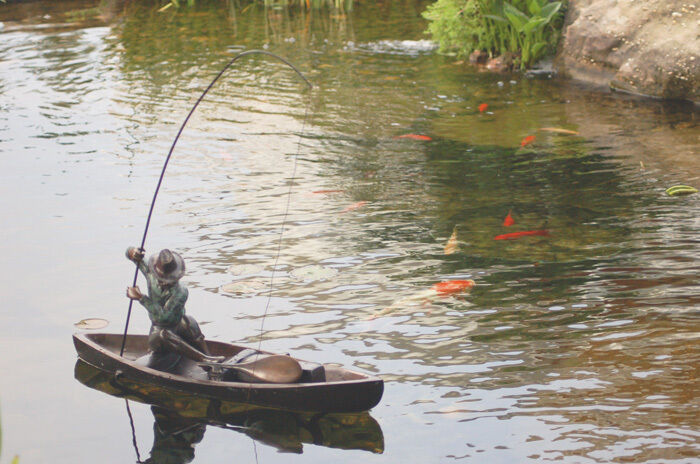 Bronze sculpture fisherman fishing rod koi pond boat for Small fishing boats for ponds