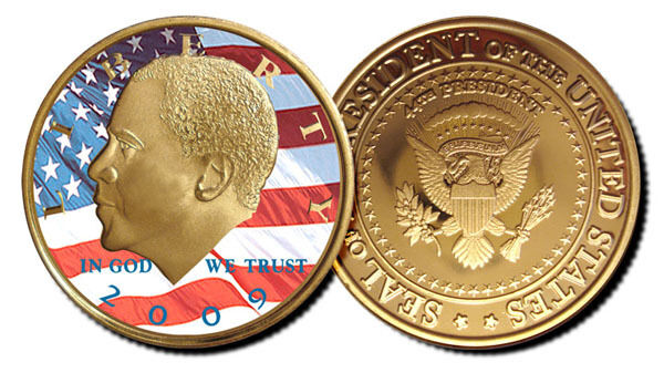 Barack Obama Colorized Flag Jfk 24 Karat Gold Clad Proof