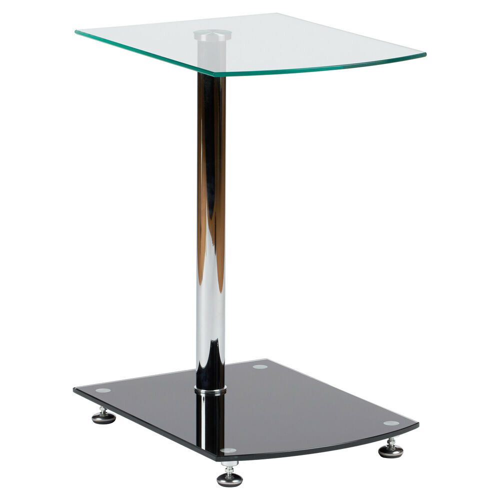 Hartleys clear black glass side end table lounge bedroom - Glass side tables for living room uk ...