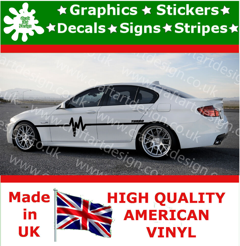 Details about bmw turbo racing stripe stickers kit x 2 car decals large side car vinyl race 6