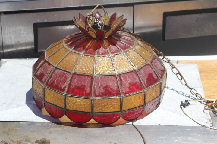 Vintage Tiffany Style Hanging Lamp Glass Light Fixture