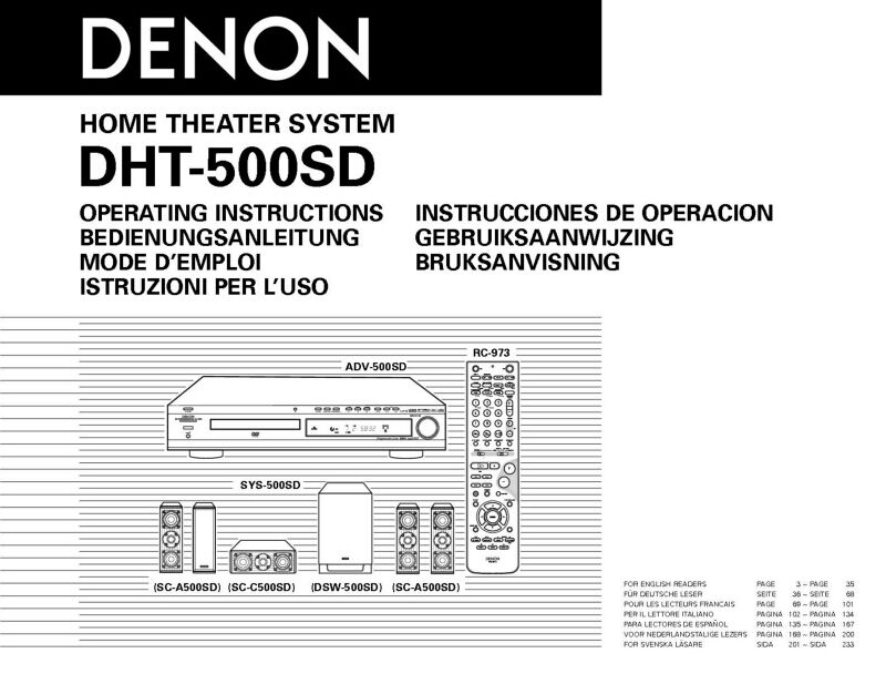 denon dht 500sd home theater system owners manual ebay. Black Bedroom Furniture Sets. Home Design Ideas