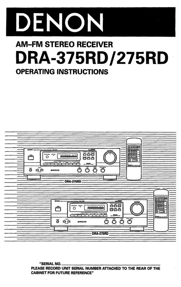 Denon dra-375rd receiver owners instruction manual reprint: amazon.
