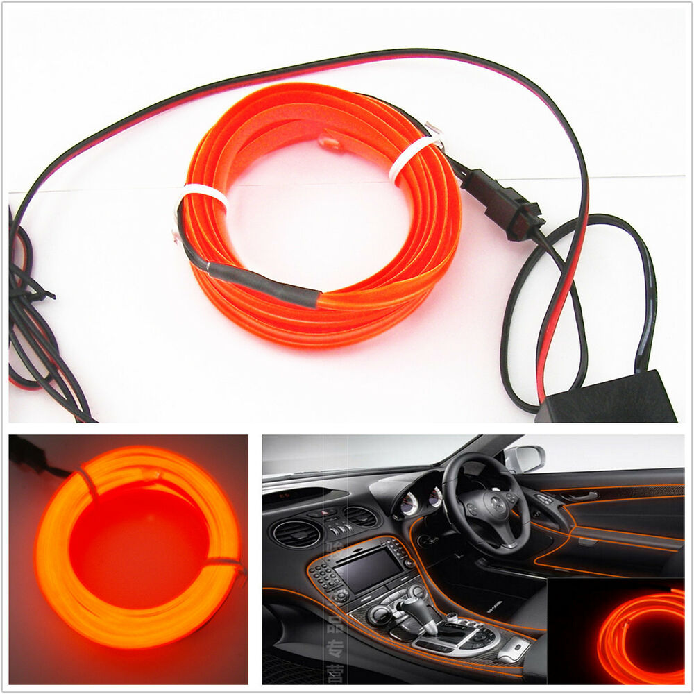 2m orange el wire car interior unique decor fluorescent strip neon cold light ebay. Black Bedroom Furniture Sets. Home Design Ideas