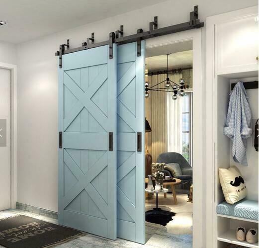 5 6 6 6 8ft bypass sliding barn wood closet door rustic for Dual track barn door hardware