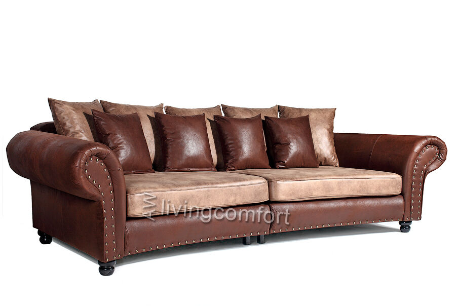 big sofa hawana kolonialstil mega sofa in kunstleder braun polsterung ebay. Black Bedroom Furniture Sets. Home Design Ideas
