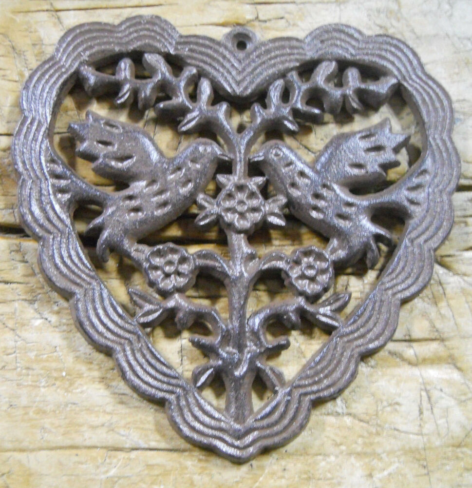Cast iron victorian style heart plaque sign rustic doves for Victorian wall decor