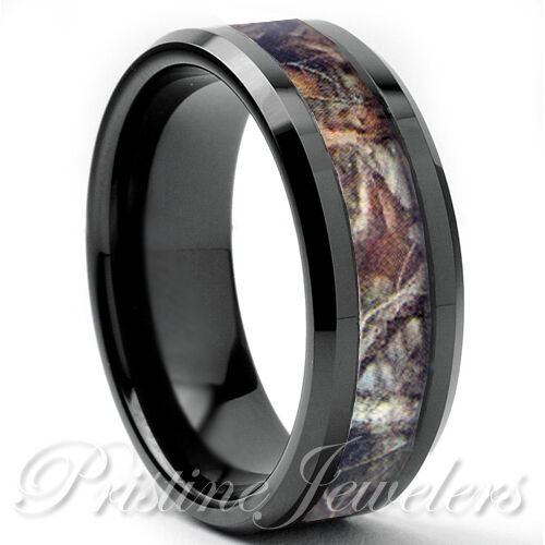 Titanium oak real forest camo ring mossy tree wedding band for Camo mens wedding rings