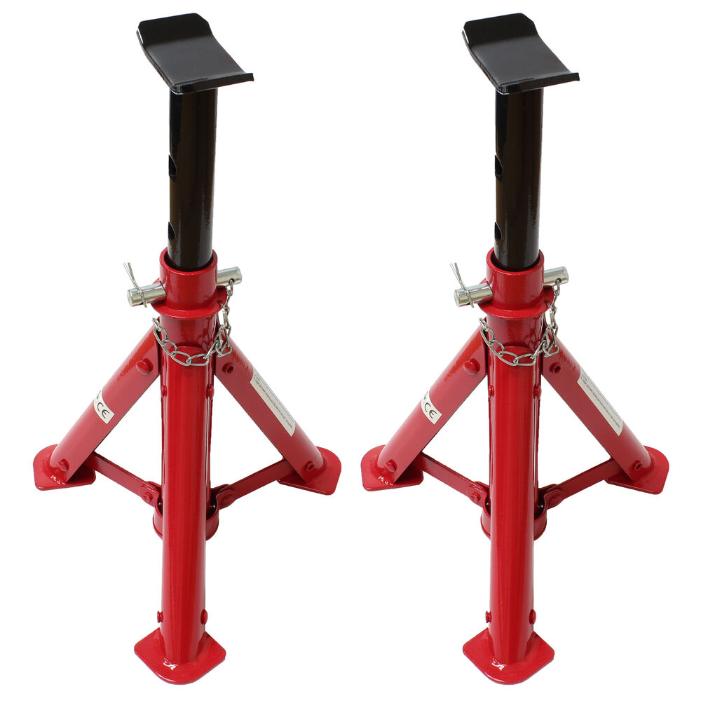 Folding Jack Stands >> Heavy Duty Red 2 Ton/2T Folding Car/Garage Axle/Jack Stands Pair/Set of Two/2 | eBay