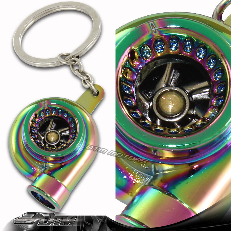 Turbo Keychain: Neo Chrome Spinning Turbo Charger Turbine Key Chain Key