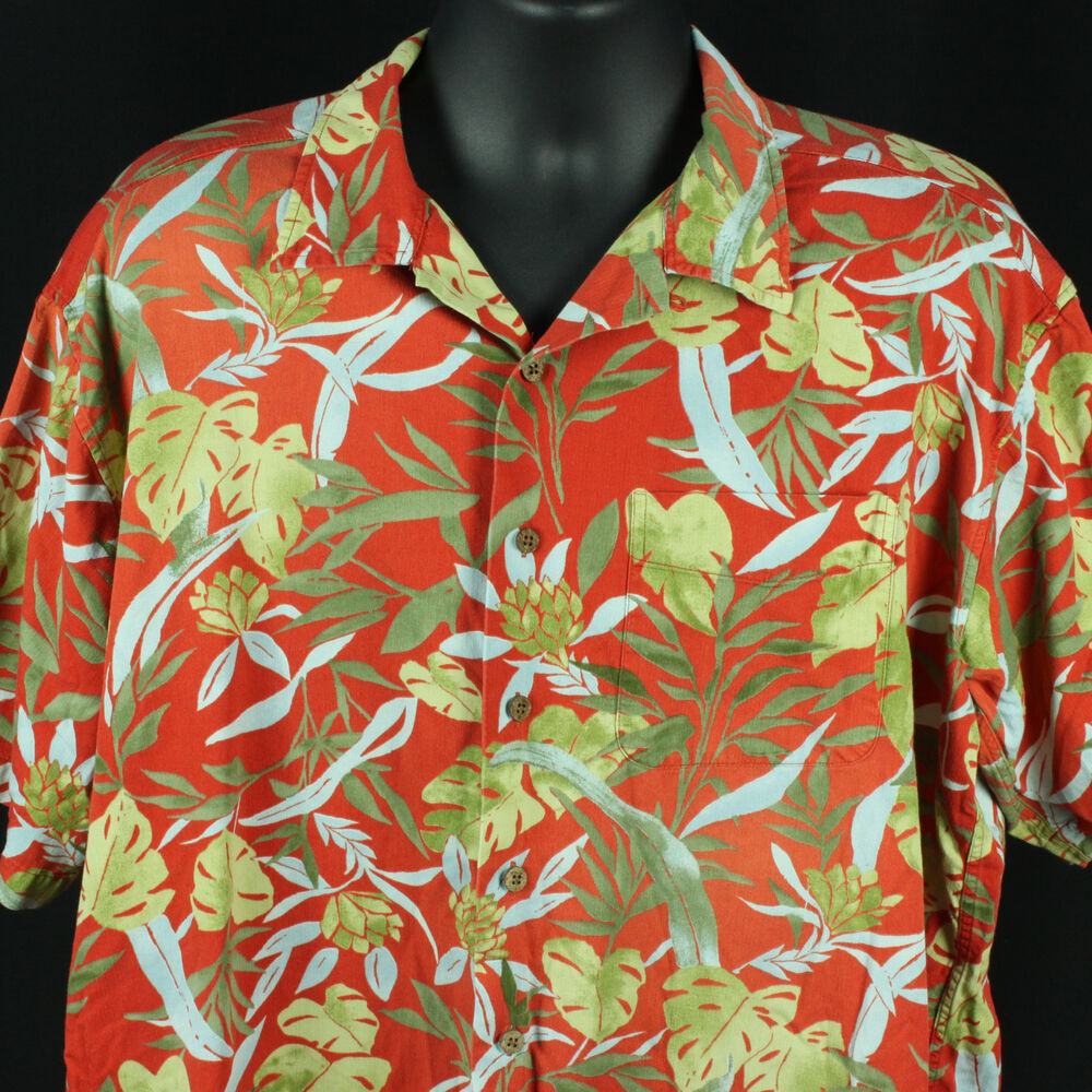 ll bean mens l tall hawaiian dress shirt tropical luau party llbean cool casual ebay. Black Bedroom Furniture Sets. Home Design Ideas