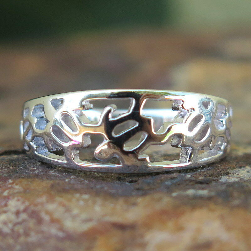 Hawaiian Sterling Silver Honu Sea Turtle Cutout Band